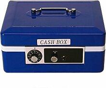 Geldkassette Spardose in blau mit Kombinationsschloss - Sparbüchse Sparschwein Tresor