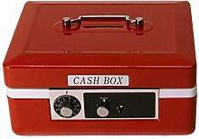 Geldkassette Spardose in rot mit Kombinationsschloss - Sparbüchse Sparschwein Tresor