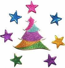 GelGems Outlook Design Selbstklebende Gel-Sticker, mehrfarbig, Weihnachtsschmuck, Weihnachtsbäume im Regenbogen-Stil