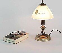 Gem�tliche Tischlampe Messing Optik Glas