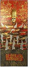 Gemälde auf Leinwand Bild Kunst 120 x 50 cm Rot Deko Kunstwerk Abstrakt 3D Effek