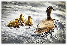 Gemälde Ducklings with Mother Duck