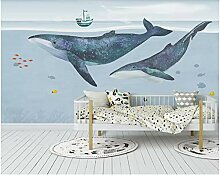 Gemalter nordischer Wal Wandsticker Kinderzimmer