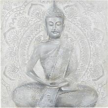 Gemaltes Leinwandbild Statue, grau 120x120