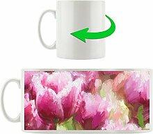 gemaltes Tulpenfeld in pink, Motivtasse aus weißem Keramik 300ml, Tolle Geschenkidee zu jedem Anlass. Ihr neuer Lieblingsbecher für Kaffe, Tee und Heißgetränke.