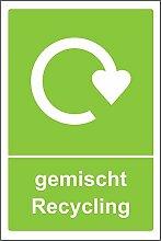 gemischtes Recycling - Selbstklebender Aufkleber