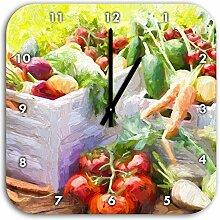 Gemüsekiste Pinsel Effekt, Wanduhr Quadratisch