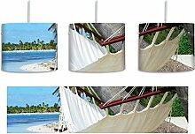 Gemütliche Hängematte am Strand inkl. Lampenfassung E27, Lampe mit Motivdruck, tolle Deckenlampe, Hängelampe, Pendelleuchte - Durchmesser 30cm - Dekoration mit Licht ideal für Wohnzimmer, Kinderzimmer, Schlafzimmer