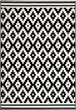 Gemusterter Teppich in Schwarz und Weiß Kurzflor