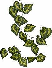 Generic 10 x Hängen Künstliche Blätter Pflanze Efeurebe Zaun Garten Wand Dekor mit 20 Blätter Grün - Stil 03, 2.4m