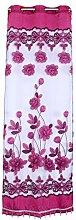 Generic 250x100cm Blumenmuster Perlen Jacquard Fenster Fenstervorhang Voile Vorhang Gardine für Haus Wohnzimmer Dekoration , Ver. Farbe - Dunkel Lila, 250x100cm
