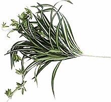 Generic 2pcs Künstliche Chlorophytum Gras Bündel mit 64 Blätter Seide Vase Garten Dekor , Grün - Grün , L