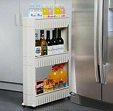 Generic 3Etagen Rolling Slide Out Storage Tower Küche Badezimmer oder Waschküche Rack Organizer mit Rad, weiß, 22.24X 26X 5,51cm