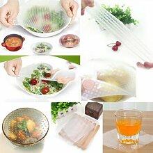 Generic 4PCS Multifunktional Lebensmittel frisch halten Saran (Wrap Küche Werkzeuge wiederverwendbar Silikon Speisen, Packungen Seal Vakuum Motiv Deckel Stretch