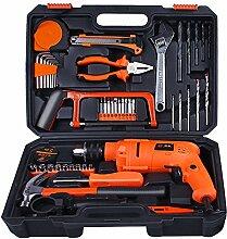 Generic 49Stück Multifunktional Hardware Werkzeuge in Hand Werkzeug-Sets mit Elektrische Bohrmaschine, Bügelsäge, Kombizange, Schraubenschlüssel und Klauenhammer