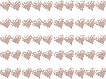 Generic 50pcs Papier Herz Weinglas Tischkarte Platzkarten für DIY Hochzeit Geburtstage Gastgeschenk Baby Dusche Dekor - Rosa