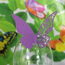Generic 50pcs Papier Schmetterling Weinglas Glas Becher Platzkarten Karte Hochzeit Geburtstag Dekor - Lila