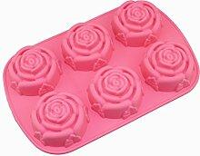Generic 6Rose Blumen 3D Silikon Cookie Fondant