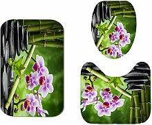 Generic Bambus Kieselstein-Orchideen-WC-Vorleger