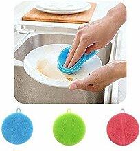 Generic Blau: Praktische Silikon Gericht Waschen Pinsel Schwamm Scrubber Hochwertige Weiche Reinigung antibakteriell Küche Werkzeuge
