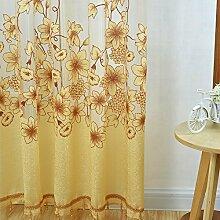 Generic Blumen Design , Modern Jacquard Fenstervorhang Panel Drapieren Balkon Fenster , Farben und Größe Auswählbar - Gelb mit Perlen, 250 x 200 cm
