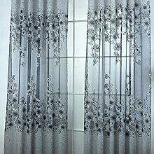 Generic Blumen Design , Modern Jacquard Fenstervorhang Panel Drapieren Balkon Fenster , Farben und Größe Auswählbar - Grau mit Perlen, 250 x 200 cm