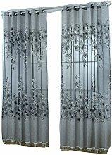 Generic Blumen Design , Modern Jacquard Fenstervorhang Panel Drapieren Balkon Fenster , Farben und Größe Auswählbar - Grau mit Perlen, 250 x 100 cm
