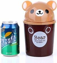 Generic Creative Mini Desktop Haushalt Clamshell kleinen und Mülleimer Kunststoff Reinigung Kleinteile Barrels Garbage können, braun,