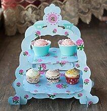 Generic Doppel Schicht Blau Blume Dekoration Cupcake Kuchen Ständer Hochzeit Geburtstag Party Dessert Papier Ständer Teller Dekoration