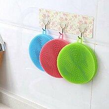 Generic Farbe zufällige Praktische Silikon Gericht Waschen Pinsel Schwamm Scrubber Hochwertige Weiche Reinigung antibakteriell Küche Werkzeuge