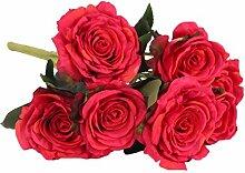 Generic Groß Rose Blumenköpfe , Künstlichen Rose Blumen Pflanze aus Kunstseiden DIY Dekor - Rot, 54cm