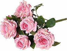Generic Groß Rose Blumenköpfe , Künstlichen Rose Blumen Pflanze aus Kunstseiden DIY Dekor - Rosa, 54cm