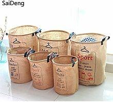 Generic groß Socke: saideng Baumwolle Leinen rund Kleidung Wäschekorb Mülleimer Badezimmer Multifunktions-Griff STAPELBAR Barrel Lagerung Organizer
