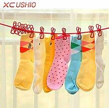 Generic Grün, 1-stöckig: Outdoor Camping Elastic Wäscheleine mit 12Clips tragbar einziehbar Schirmhaspel Home Socken Unterwäsche Kleiderbügel
