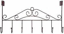Generic Hängend Tür Halter Türgarderobe mit 7 Haken für Hut Kleidung Mantel Beutel Handtuch usw. - Bronze, 43X23cm