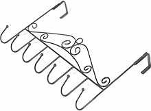 Generic Hängend Tür Halter Türgarderobe mit 7 Haken für Hut Kleidung Mantel Beutel Handtuch usw. - Schwarz, 43X23cm