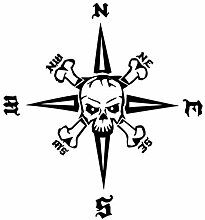 Generic Kompass Totenkopf Aufkleber 30x30cm