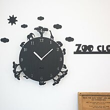 Generic Kreativer Hausanhänger, Schlafzimmer Wanduhr, dekorative Wanduhr, ruhige Wanduhr, Schwarz12.Zoll