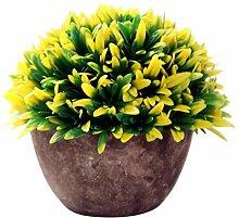 Generic Künstliche Glück Gras Pflanze Blätter Vergießen Bonsai im topf Blumen Garten Hause Deko - Gelb