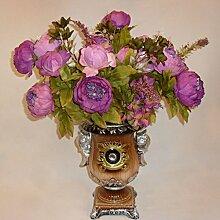 Generic Künstliche Pfingstrose Seidenblume Blatt Blütenknospe , aus Seidenblumen , Wohnzimmer Hochzeit Dekor - Lila , 50 cm