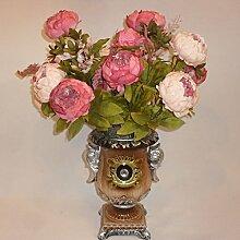 Generic Künstliche Pfingstrose Seidenblume Blatt Blütenknospe , aus Seidenblumen , Wohnzimmer Hochzeit Dekor - Dunklen Rosa , 50 cm