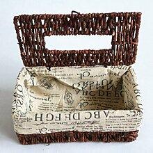 Generic Pflanze Stroh Seil Weben Papier Auto Bezüge Handtücher in Herz Haushalt Gewebe, Box interne Futter Tuch Buchstaben mit Stoff