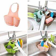 Generic Pink: Aufhängen Ablauf Tasche Korb Bad Aufbewahrung Gadget Werkzeuge Spüle Halter Regalen Seifenspender Halter Küche Dish Reinigungstuch Schwamm Halter Ablage
