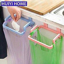 Generic Pink: Schrank Tür Rack 3Farben Kunststoff Küche Müllsäcken Halterung Aufbewahrung Ablage für Küche Zubehör Organizer egn063a