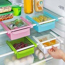 Generic Pink: Slide Kühlschrank Aufbewahrung Rechen Gefrierschrank Lebensmitteln Aufbewahrungsboxen Pantry Lagerung Organizer Mülleimer Behälter platzsparend Kühlschrank Aufbewahrungsbox