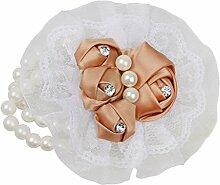 Generic Romantische Hochzeit Handgelenk Corsage Blumen Hand Blume Hochzeit Armband Brautjungfer Schwestern hand Blumen Hochzeitsparty Blume Zubehör - Champagner