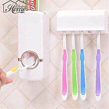 Generic Rot: 1Set Zahnbürstenhalter automatische Zahnpasta Spender + 5Zahnbürstenhalter Zahnbürste Wandhalterung Ständer Badezimmer Werkzeuge DIY