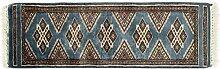 Generic Teppich Korangi Pakistan ca. 90 x 30 cm · Blau · handgeknüpft · Schurwolle · Klassisch · hochwertiger Teppich · 14090