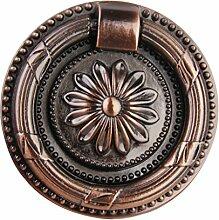 Generic Vintage Runde Blumenmuster Single Loch für Schranktür Schublade Möbel Kommoden , Farben und Größe Auswählbar - Rot Bronze , L