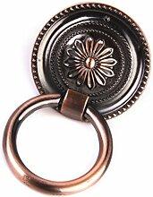 Generic Vintage Runde Blumenmuster Single Loch für Schranktür Schublade Möbel Kommoden , Farben und Größe Auswählbar - Rot Bronze , M